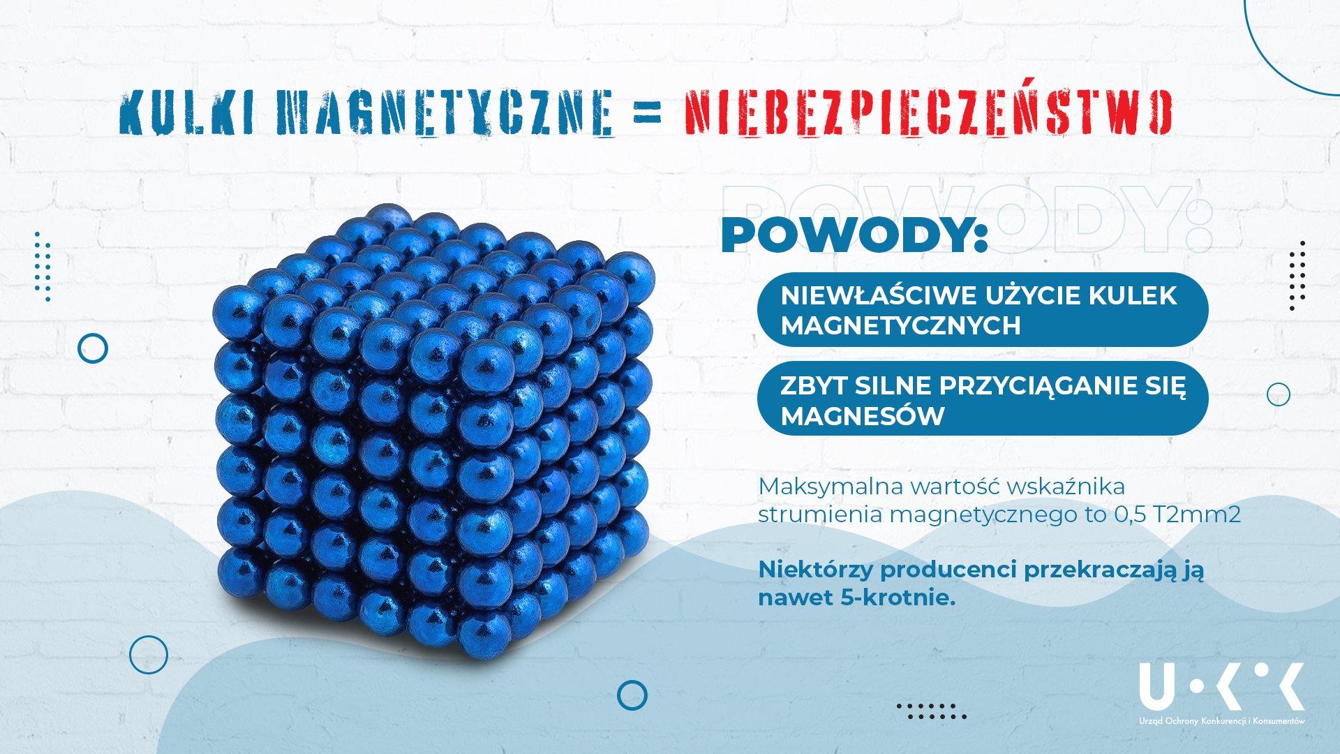 Grafika ilustrująca powody, dla ktorych zabawka kulki magnetyczne stanowi niebezpieczeństwo.